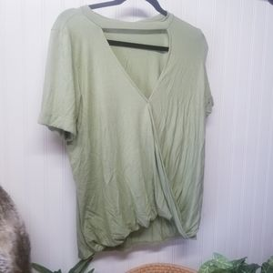 NWT Amelia James Green Draped Knit Blouse Size Med